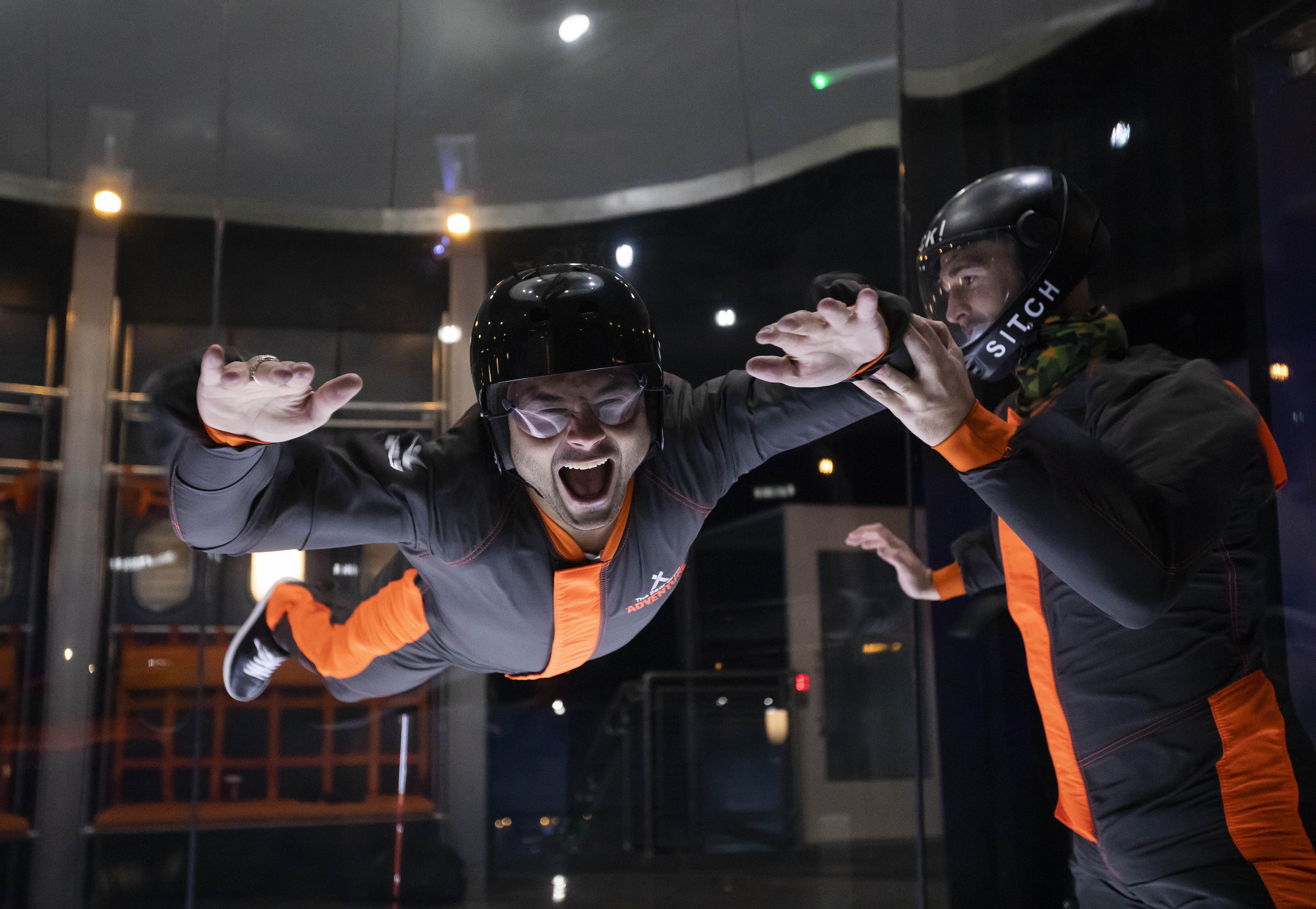 Man flies in iFLY indoor skydiving wind tunnel at The Bear Grylls Adventure Birmingham